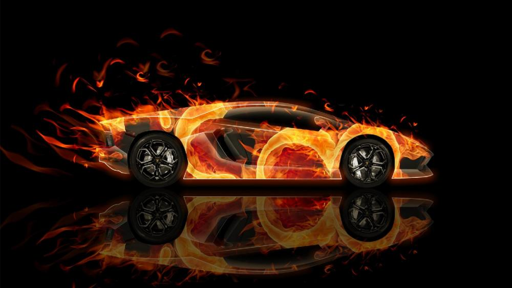 Lamborghini Aventador  on fire wallpaper