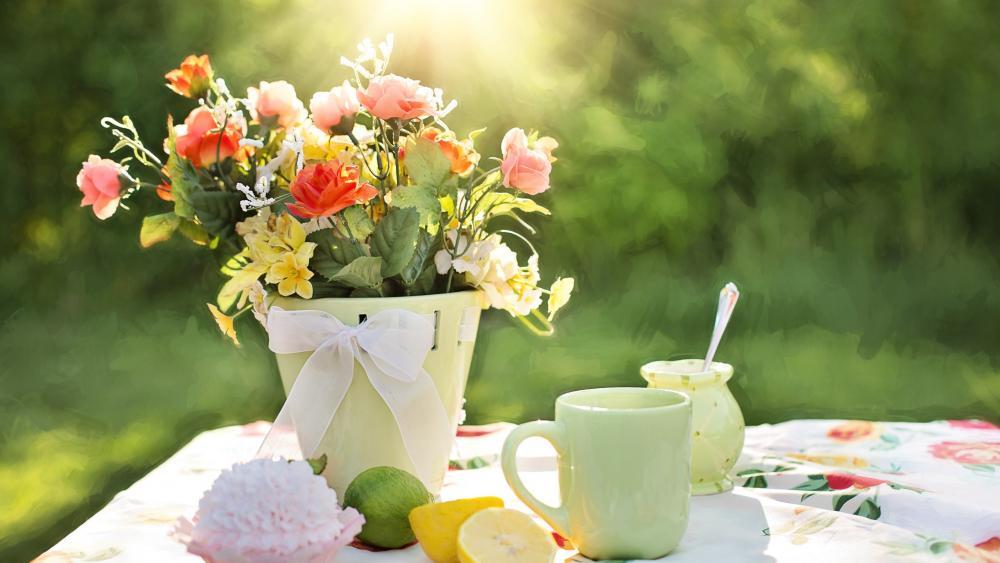 Tea in the garden wallpaper
