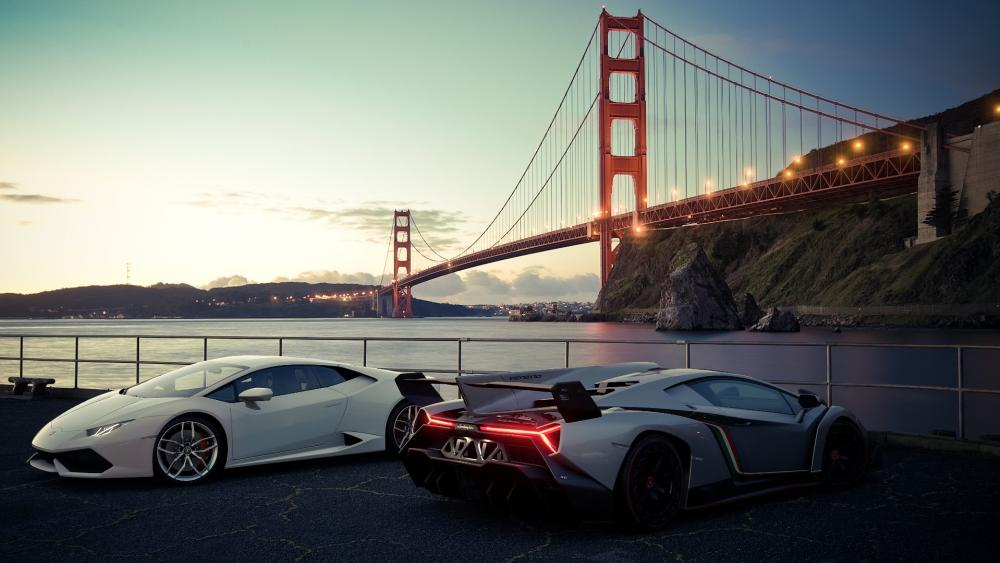 Lambos at Golden Gate Bridge wallpaper