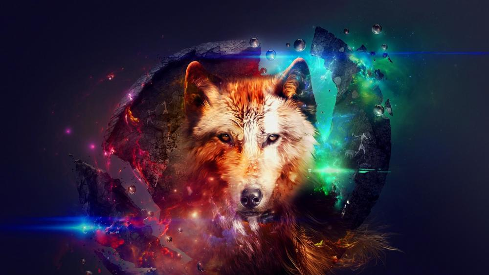 Trippy wolf wallpaper