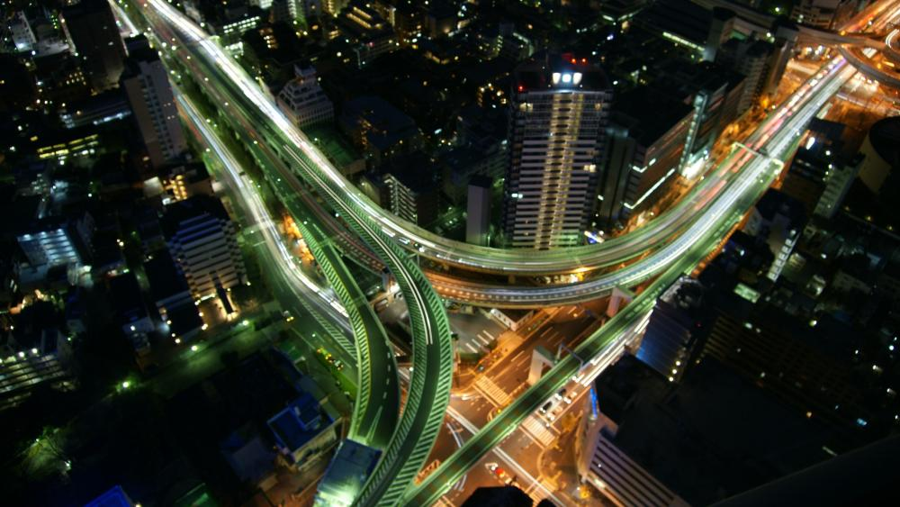 Junction in Tokyo at Night wallpaper
