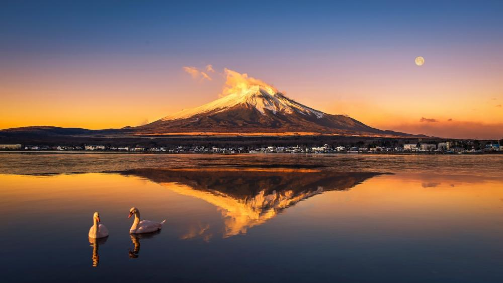 Mt. Fuji reflection, Nagaike Water Park wallpaper