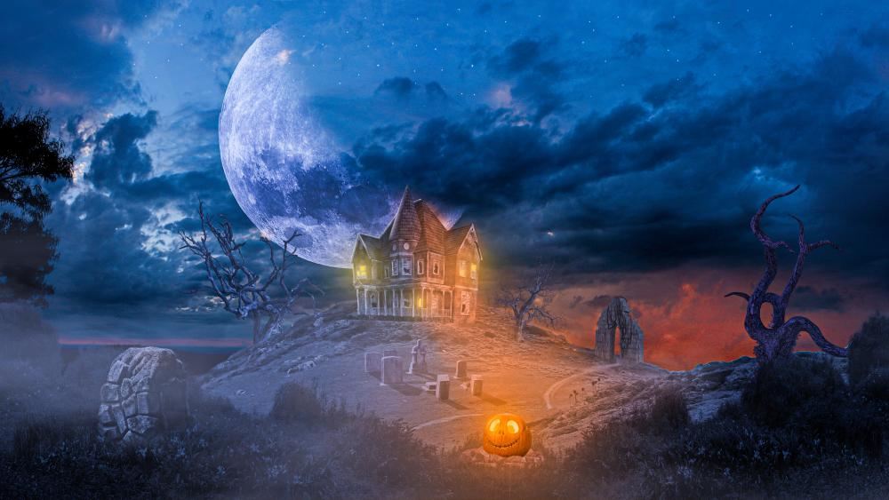 Spooky Hounted House wallpaper
