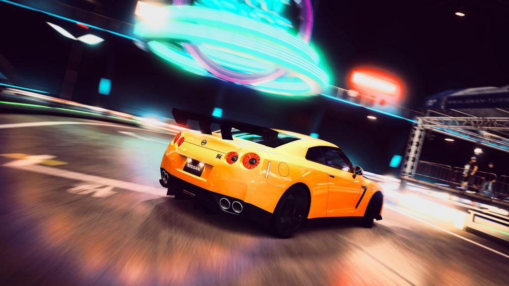 Nissan GT-R in street wallpaper