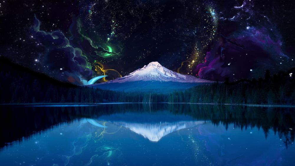 Fantasy night landscape with Mount Hood. wallpaper