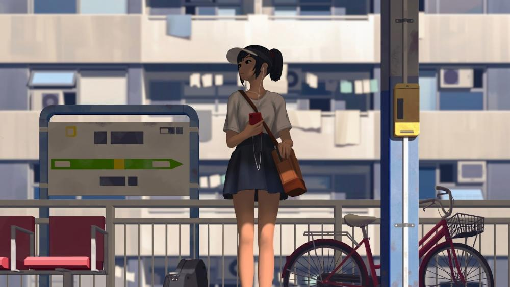 Anime Girl Waiting for the bus wallpaper