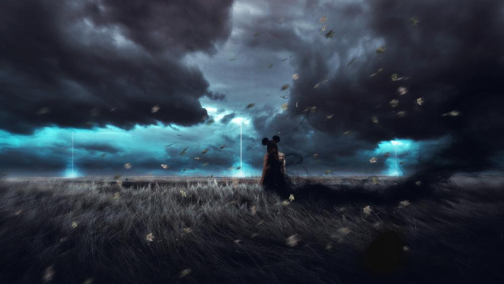 Girl on a big Storm wallpaper
