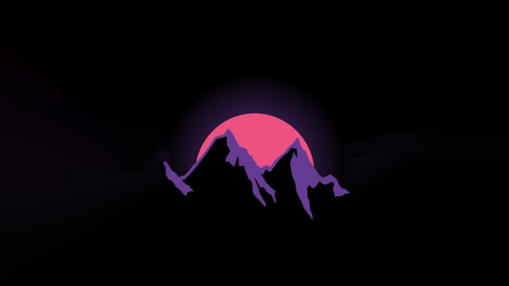 Retrowave mountains in the sunset wallpaper