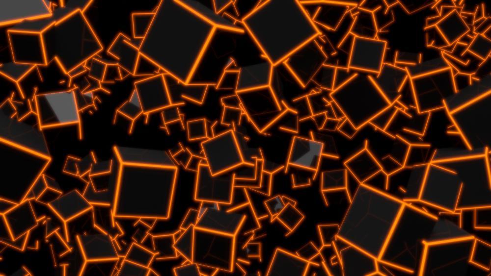 Red 3D Cubes wallpaper