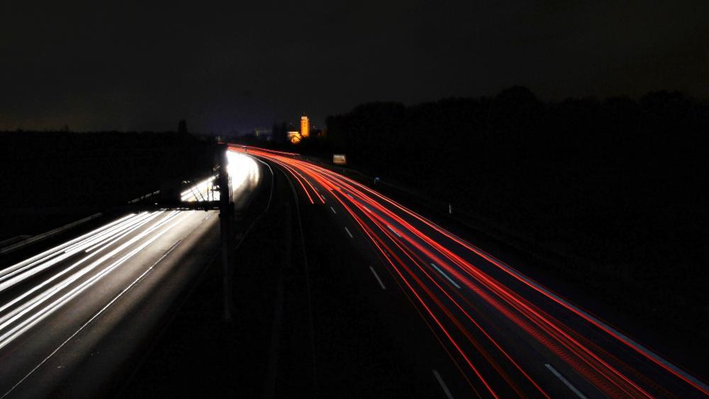 Highway by night wallpaper
