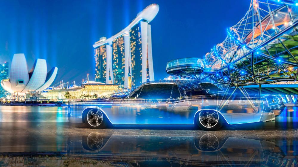 Lincoln Continental under the Helix Bridge wallpaper