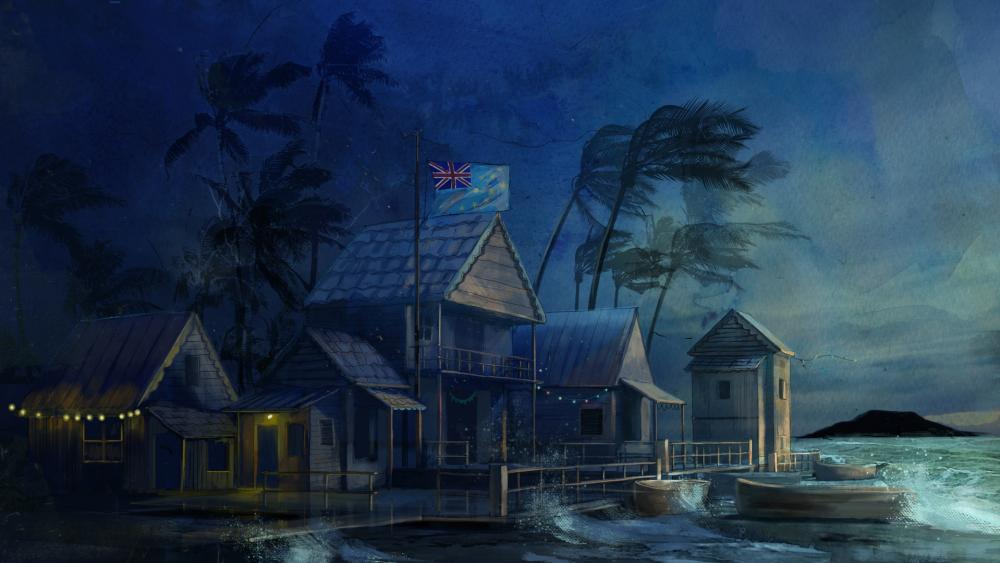 Tuvalu in stormy weather wallpaper