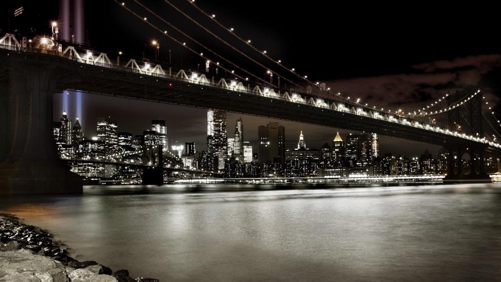 Brooklyn Bridge from Main Street Park wallpaper