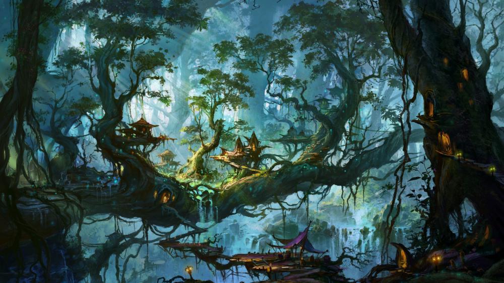 Fantastic forest wallpaper
