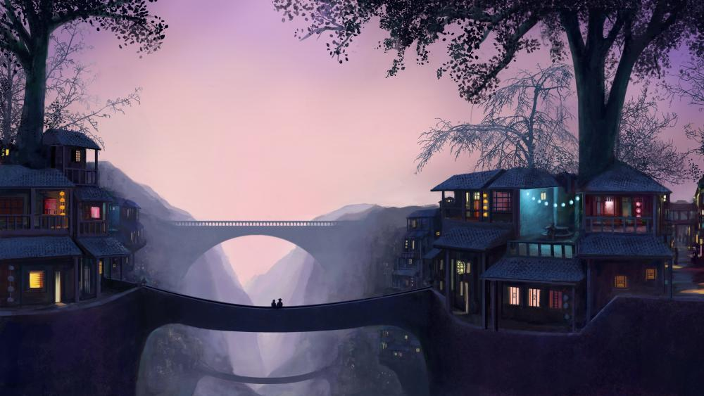 Oriental bridge wallpaper