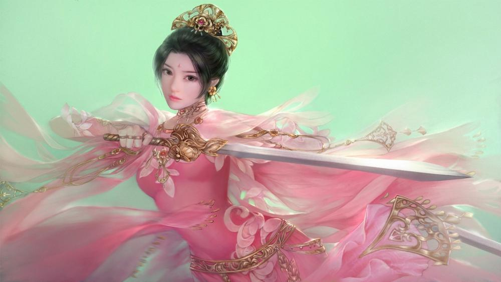 Chinese girl with sword wallpaper