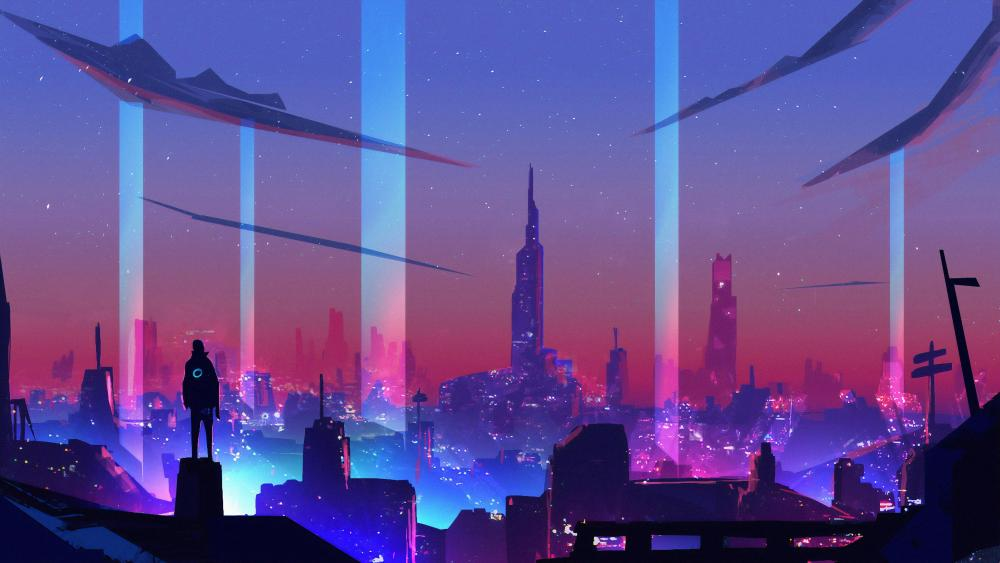 Retro Neon City wallpaper