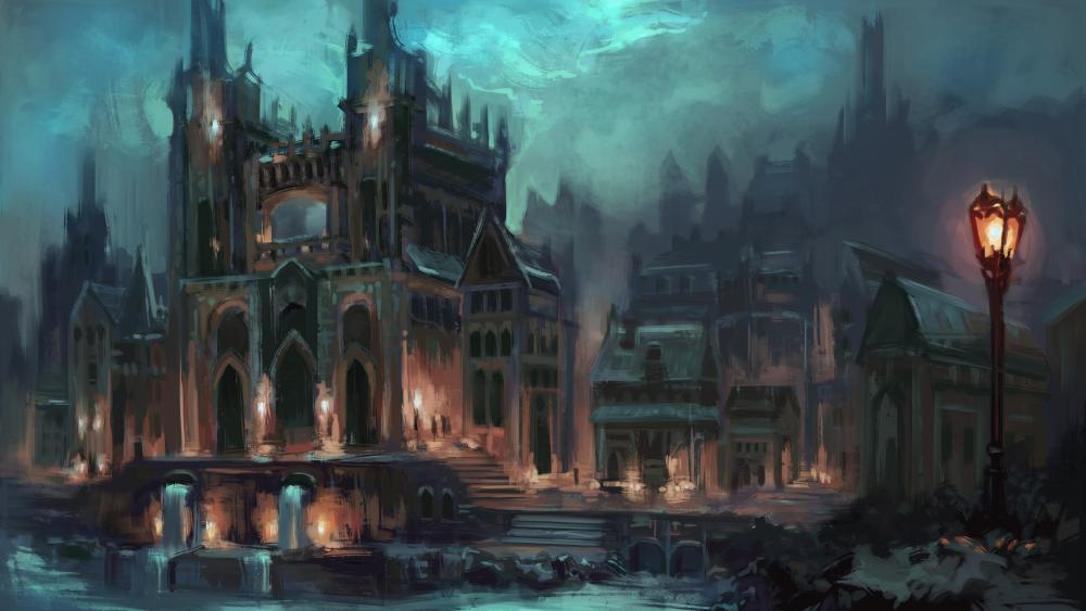 Fantasy gothic cathedral wallpaper