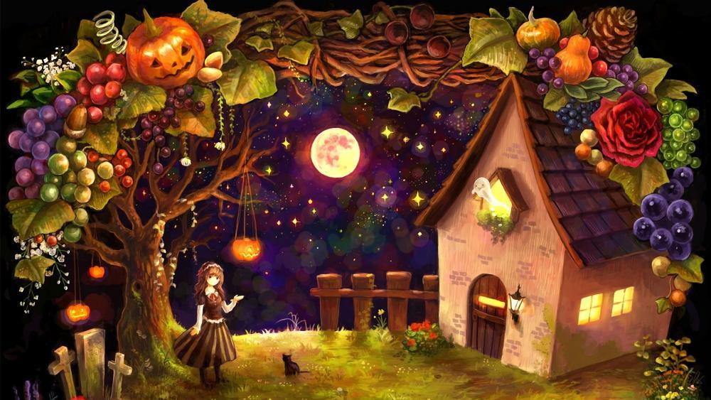 Cute Halloween Anime Art wallpaper