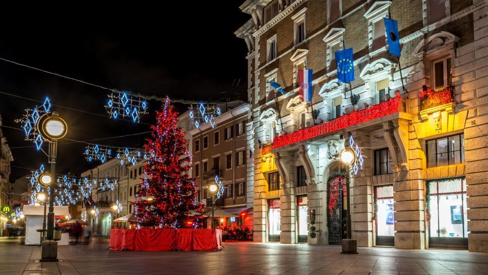 Rijeka at Christmas wallpaper