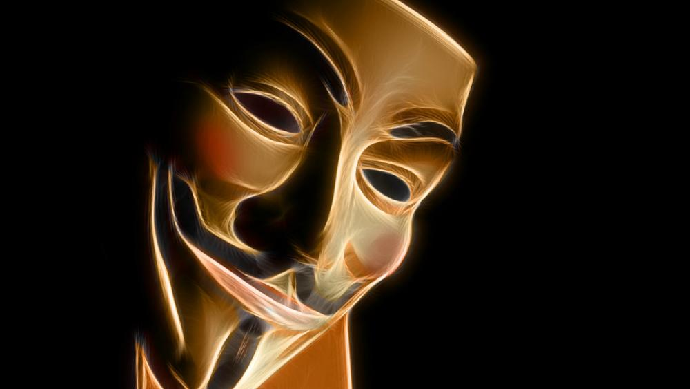 Gold Guy Fawkes mask wallpaper