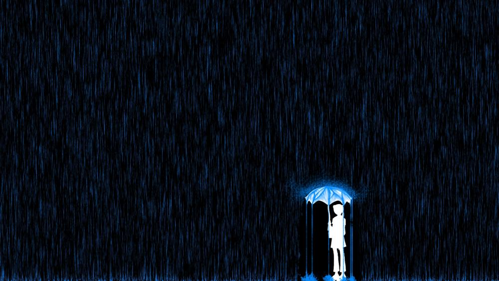 A lone little girl on a rainy night wallpaper