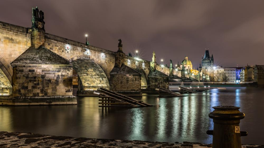 Charles Bridge by night wallpaper