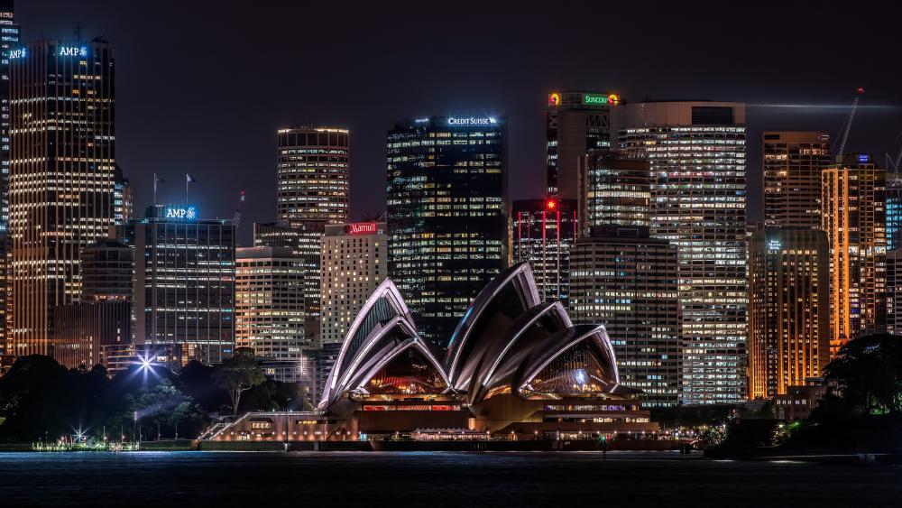 Sydney Opera House by night wallpaper