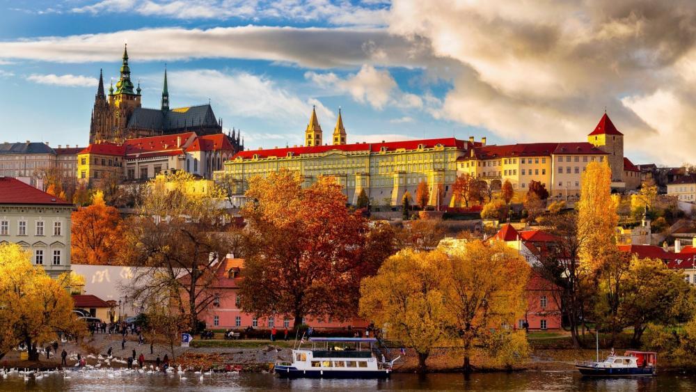 Prague Castle at fall wallpaper