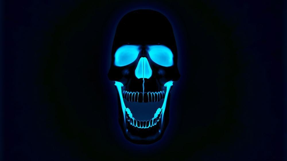 Blue neon skull wallpaper