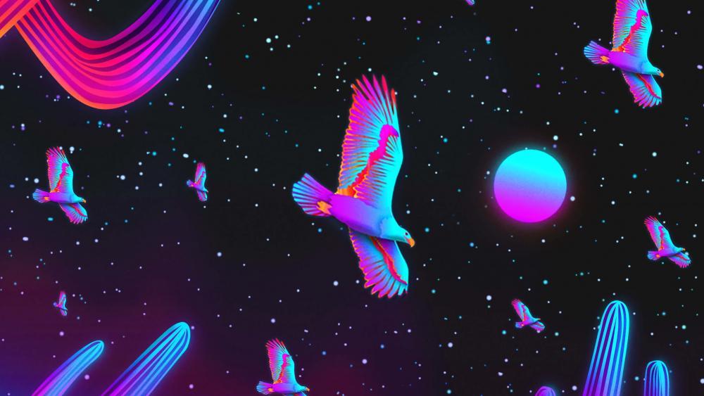Neon space birds wallpaper