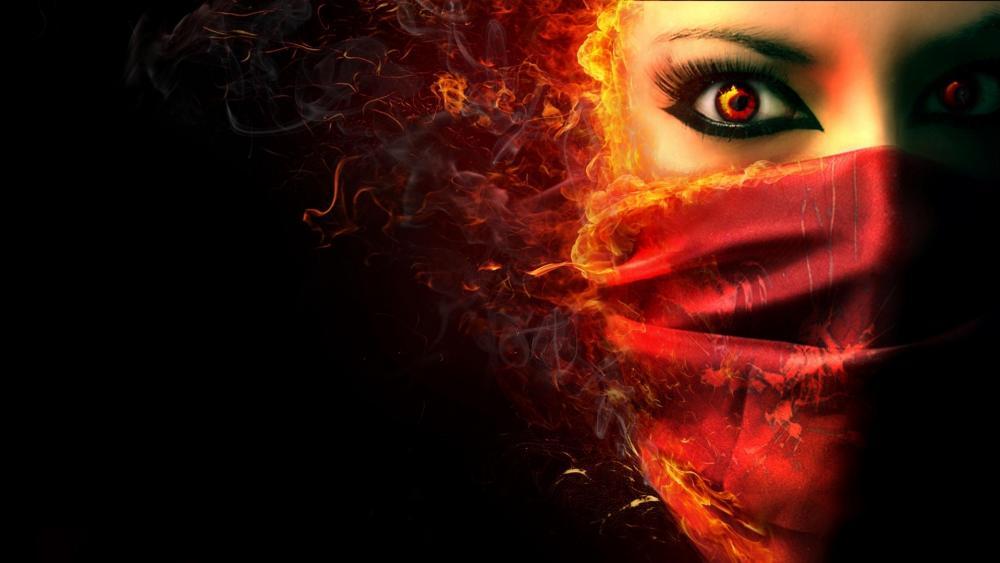 Masked woman wallpaper