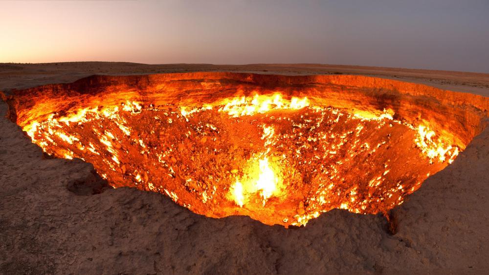Darvaza Gas Crater Panorama wallpaper