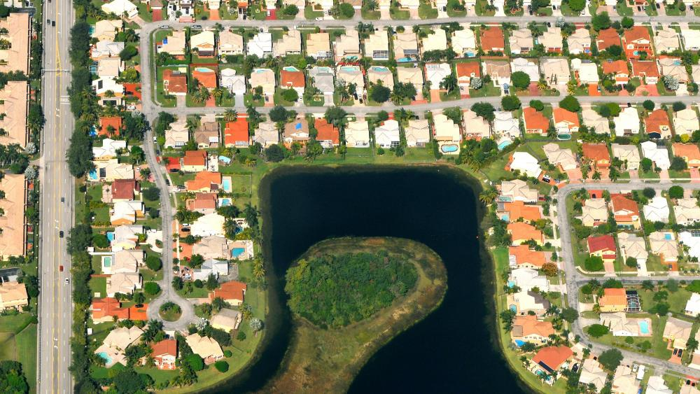 Aerial View of a Real Estate in Kendall, FL wallpaper