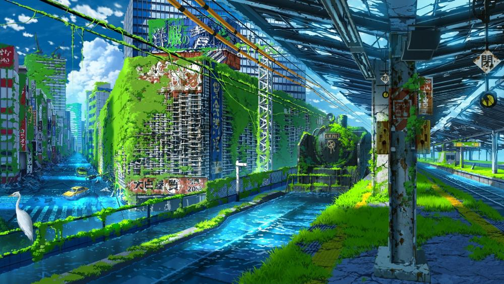 Flooded apocalyptic anime city wallpaper