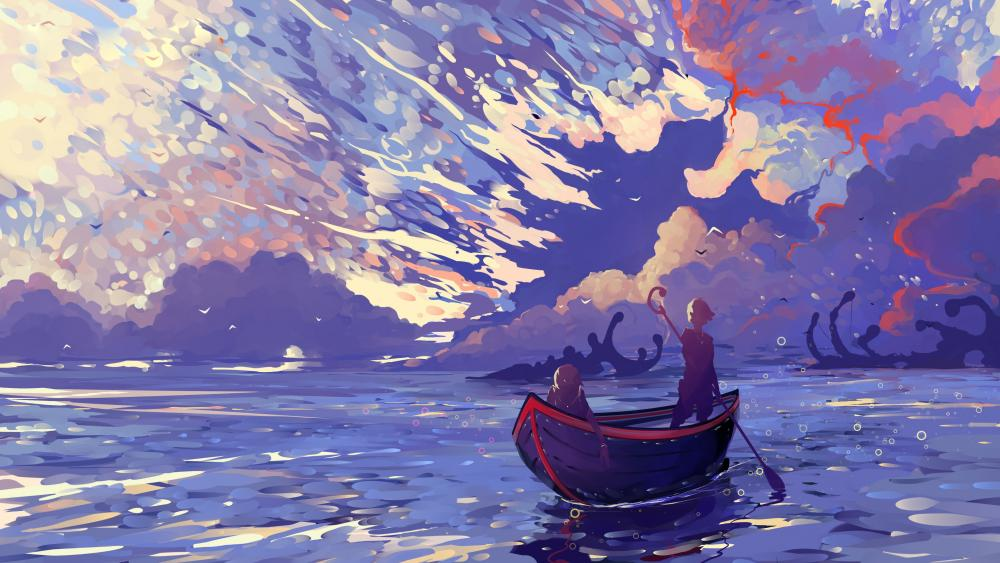 Two in one boat digital anime scenery wallpaper