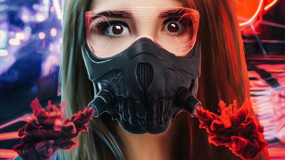 Girl in gas mask wallpaper
