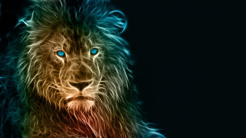 Glowing lion wallpaper