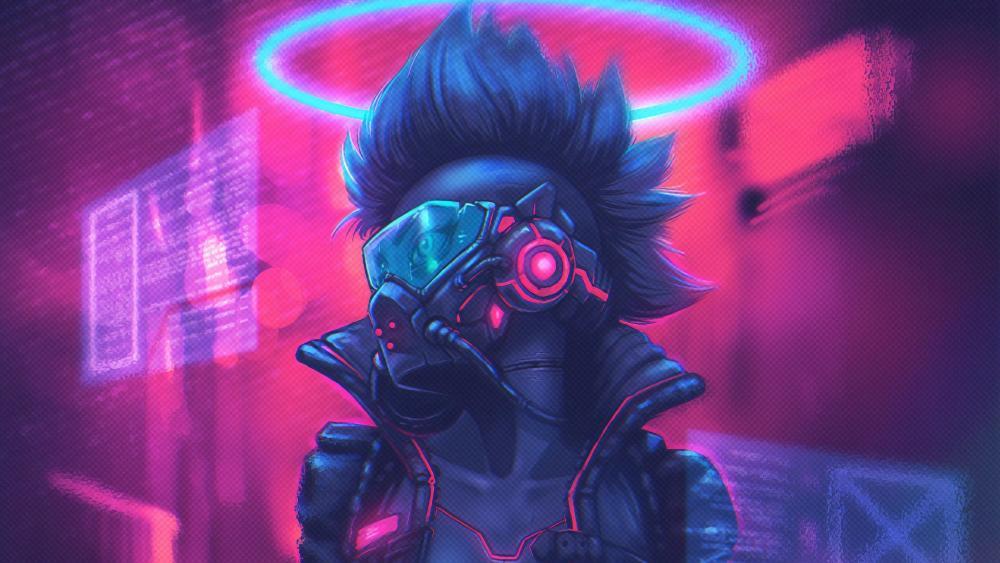 Masked cyberpunk girl wallpaper