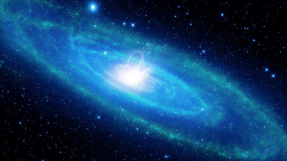Cool blue space art wallpaper