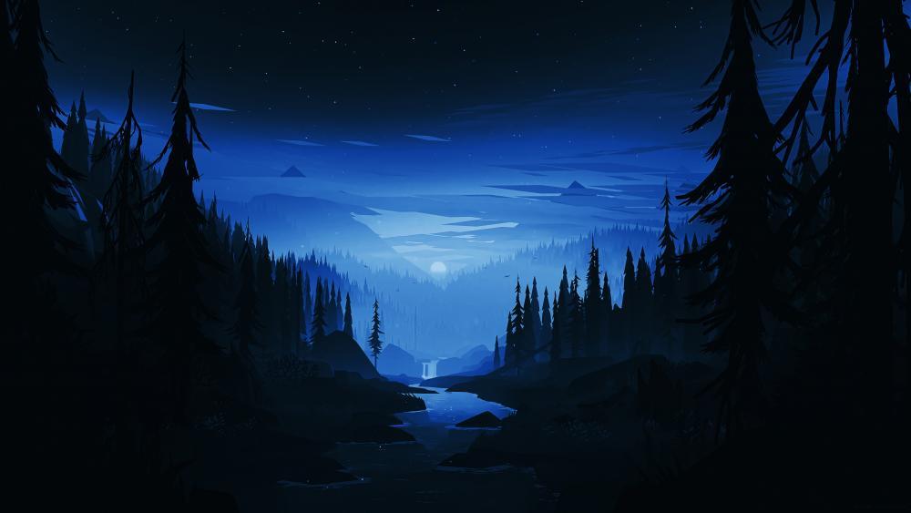 Dark forest digital art wallpaper