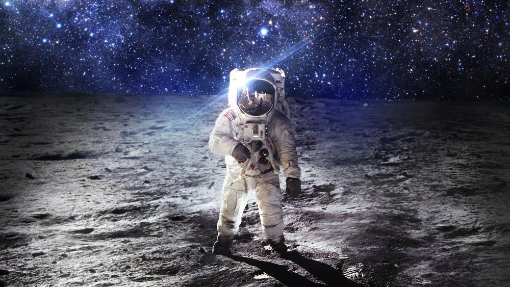 Spaceman on the moon wallpaper