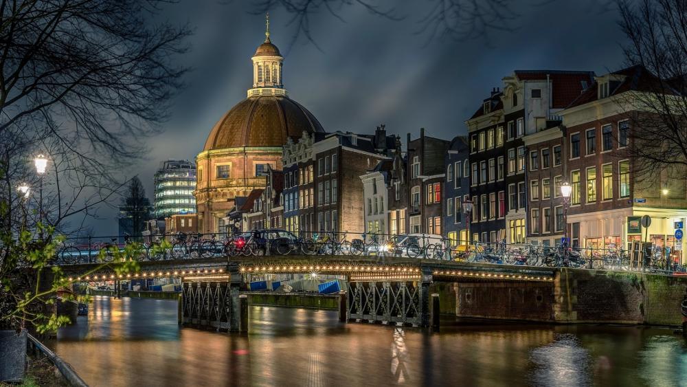 Amsterdam night wallpaper