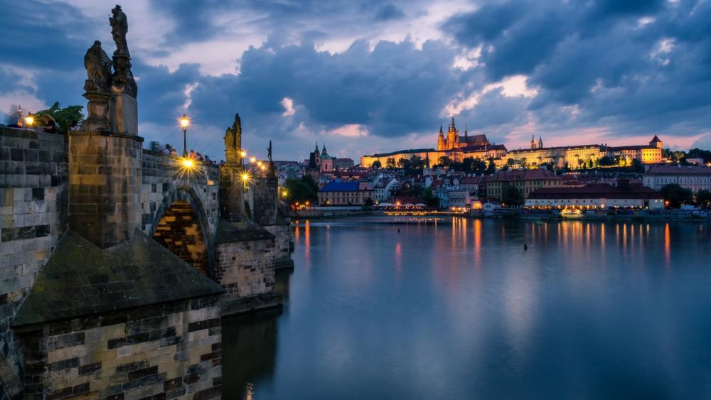 Cloudy Prague wallpaper