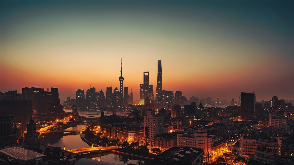 Shanghai evening skyline wallpaper