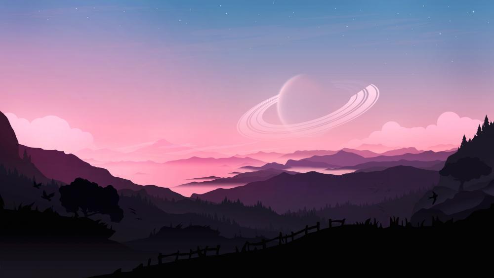 Futuristic purple landscape wallpaper