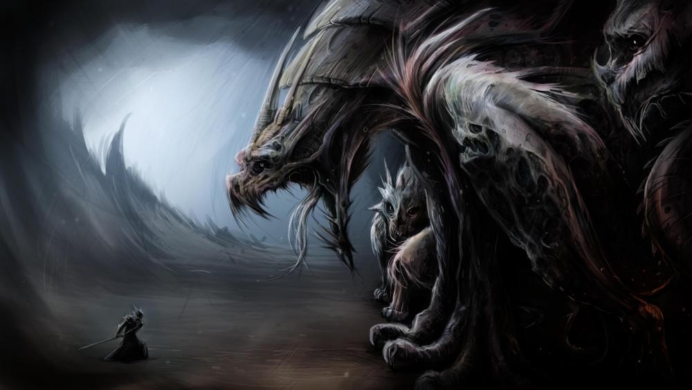 Epic Warrior VS Monster wallpaper