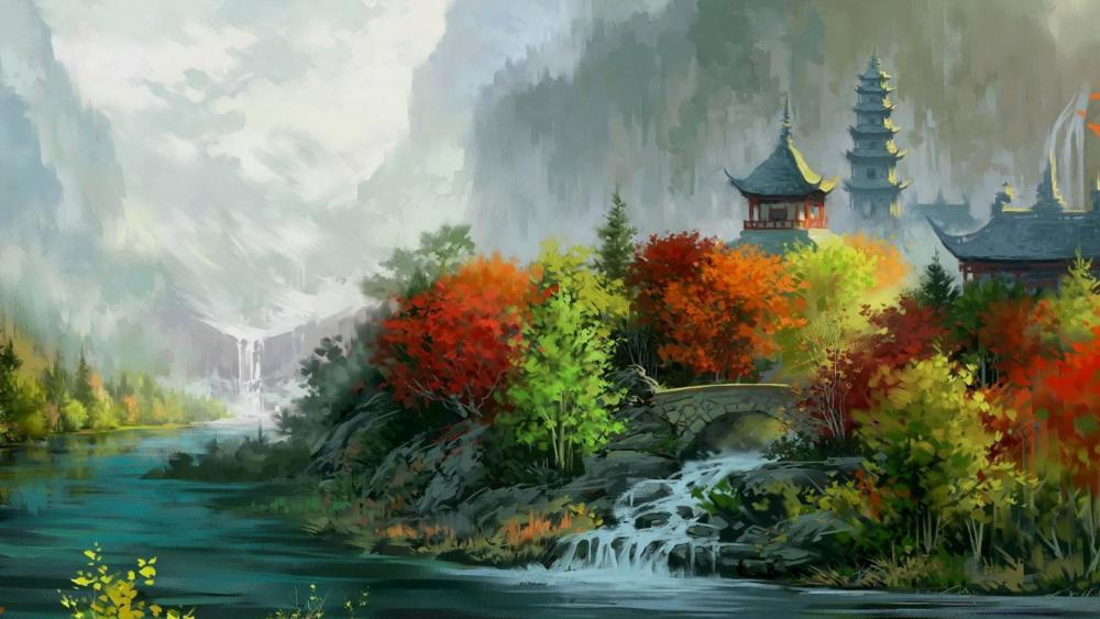 Painting of pagoda and trees wallpaper