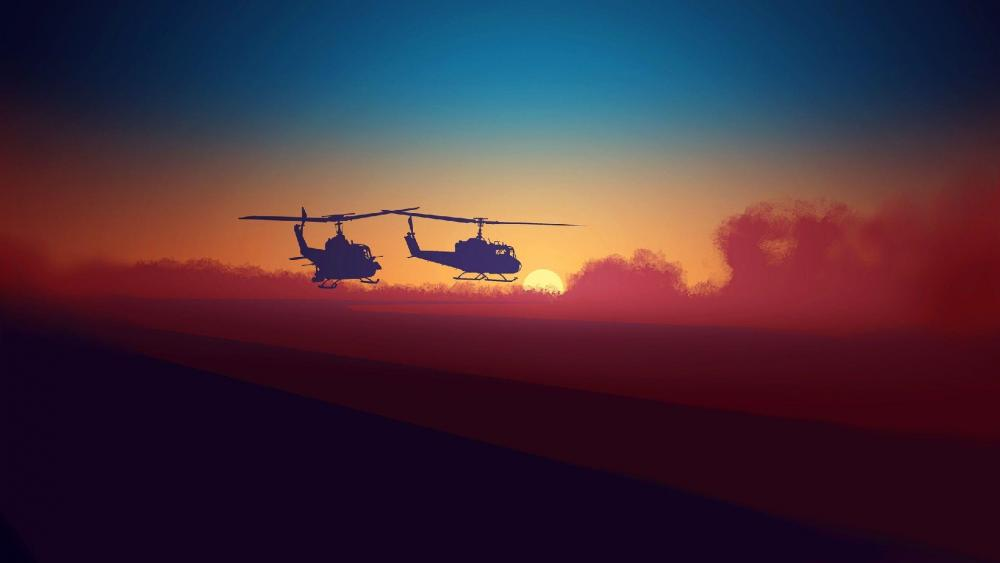 Helicopter silhouette wallpaper