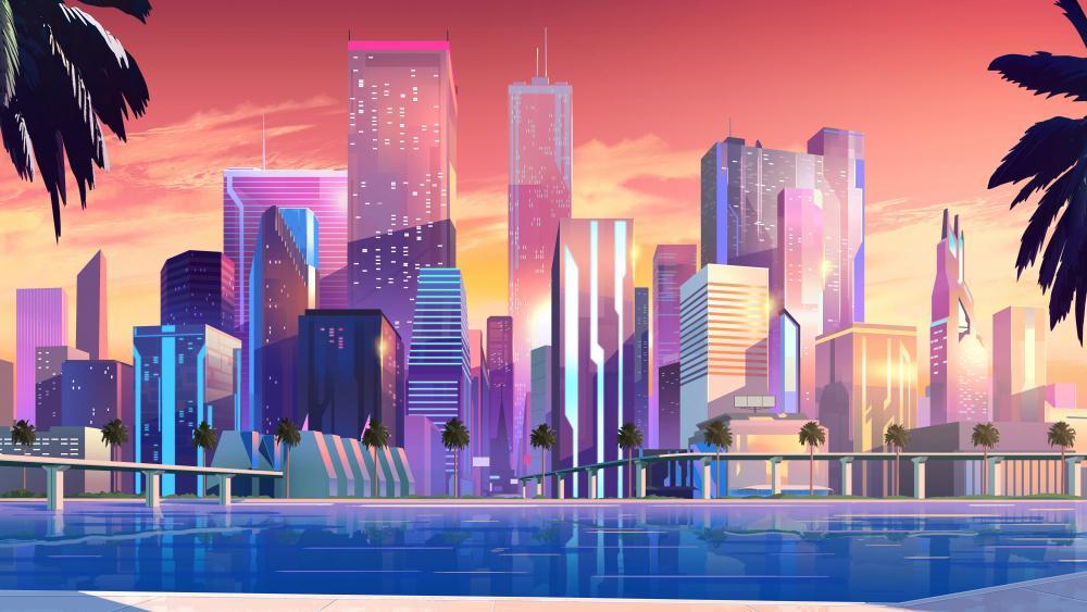 Synthwave vibrant cityscape wallpaper